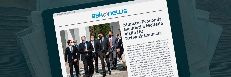 Ministro Gualtieri visita HQ Network Contacts e si congratula per il lavoro svolto