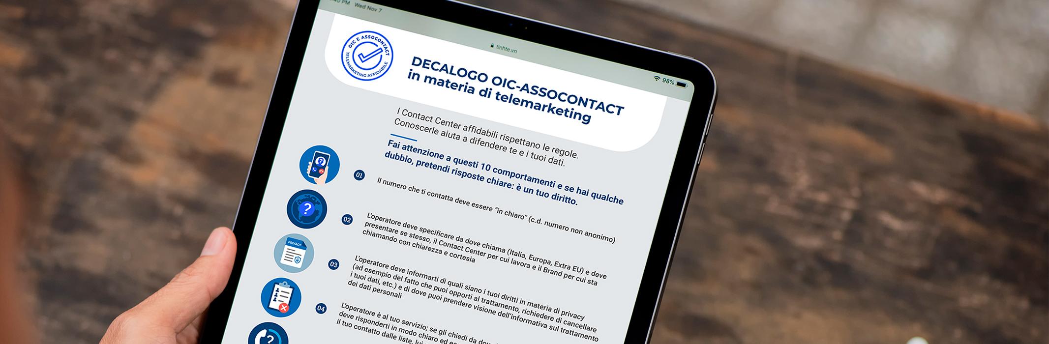 IL DECALOGO ASSOCONTACT-OIC PER I CONSUMATORI